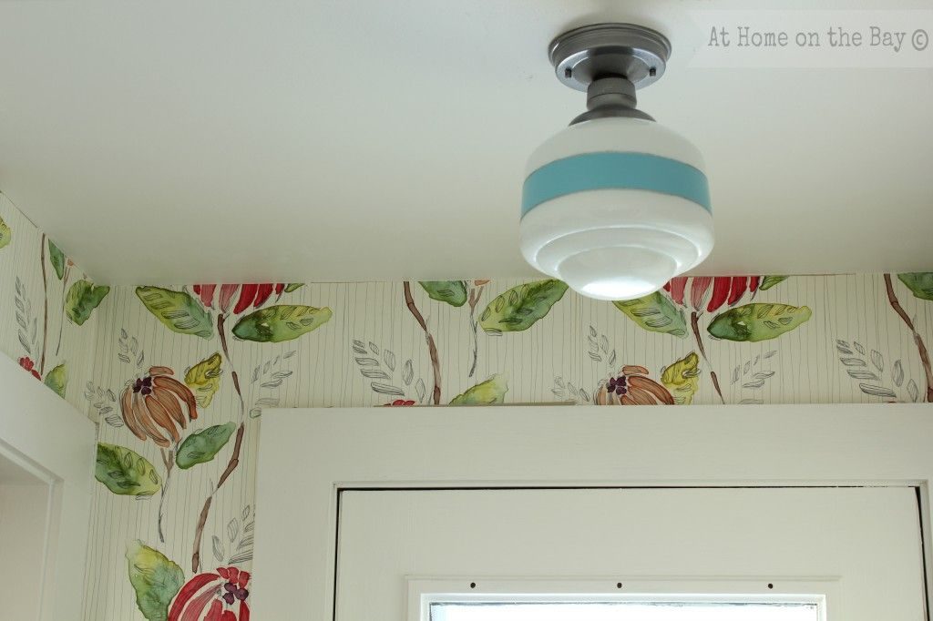 DIY Striped Schoolhouse Light - great idea to customize your lighting