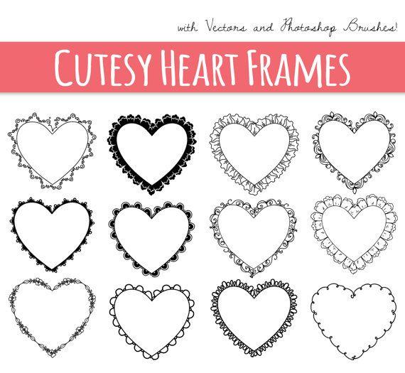 Cutesy Heart Frames // Digital Frame Clip Art // Decorative Border ...