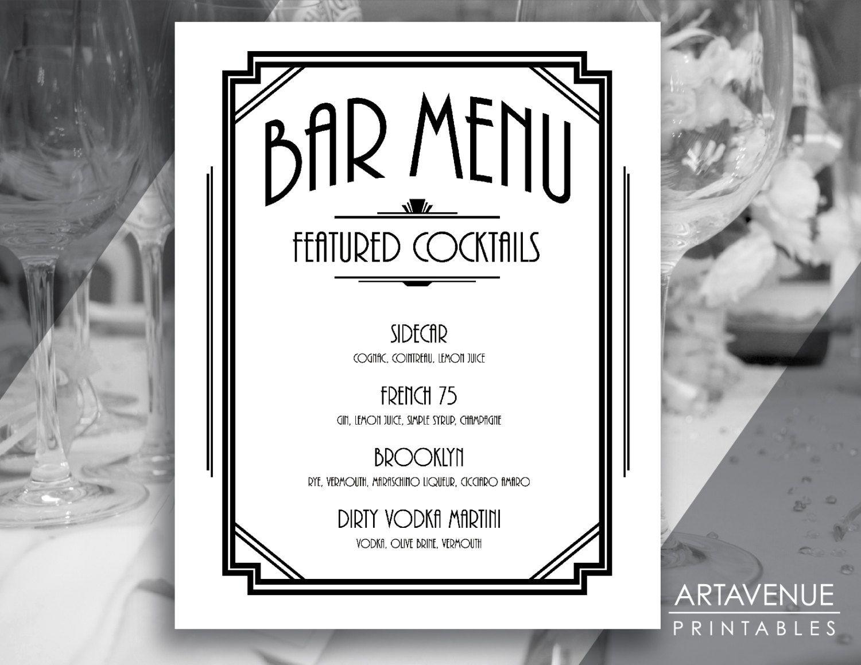 Custom Bar Menu Sign Printable Art Gatsby Bar Menu Gatsby Etsy Menu Template Word Cocktail Menu Menu Template Bar drink menu template free