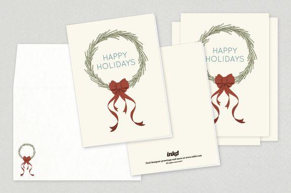 Seasonal Wreath Holiday Greeting Card Template - Spread holiday - greeting card template