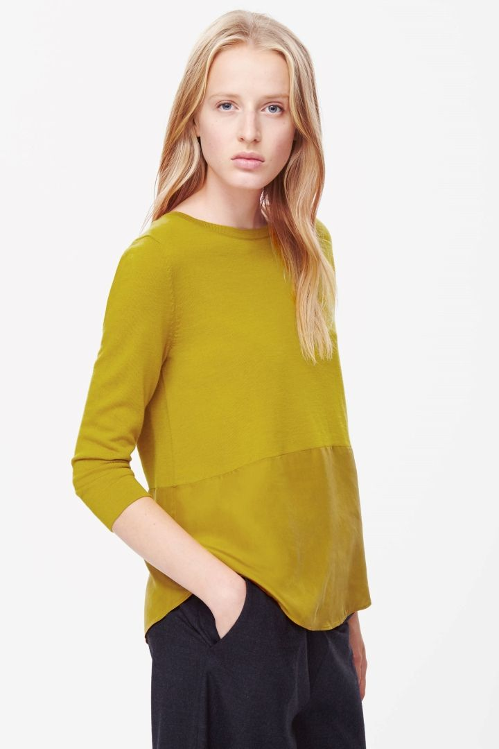 11c7d88b3d5 COS image 2 of Silk panel merino jumper in Acid Yellow   all i want ...