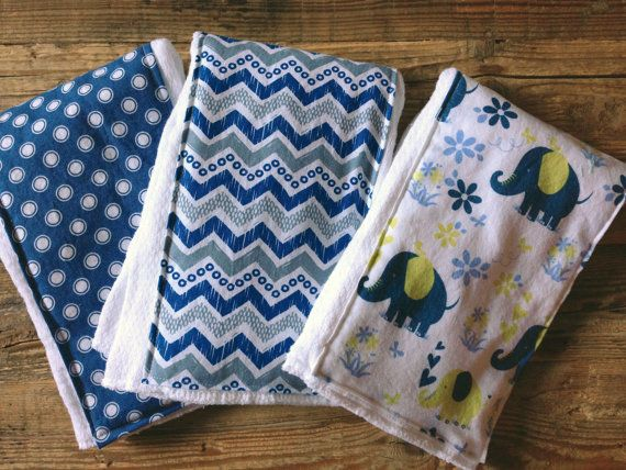 Blue Elephant Baby Burp Cloth set of 3 by sticksandfuzzies on Etsy, $15.00