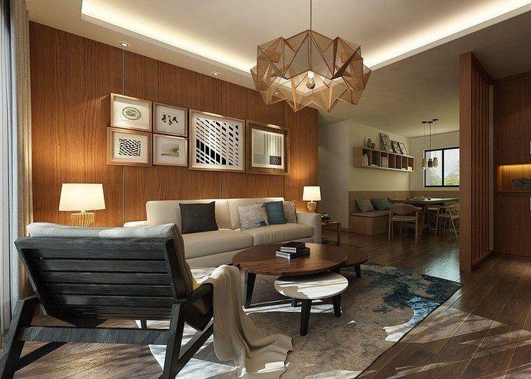 Holz Wandpaneele und LED Deckenbeleuchtung im Wohnzimmer Ideen