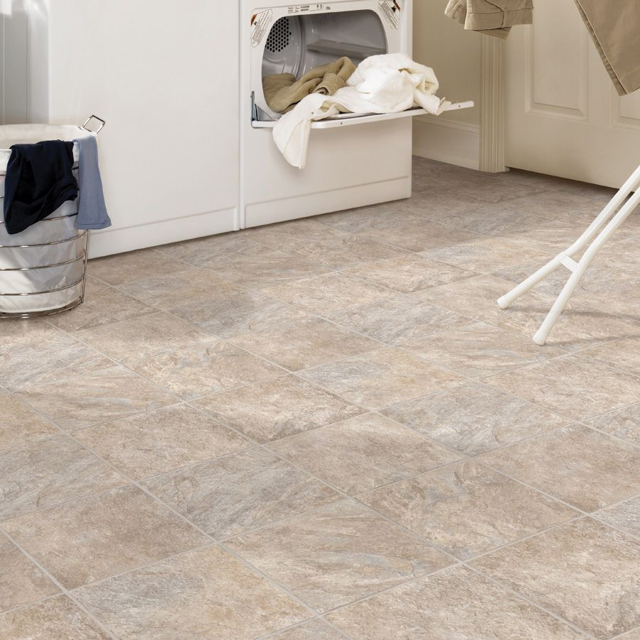 Shop Tarkett 12ft W Creamy Grey Tile LowGloss Finish