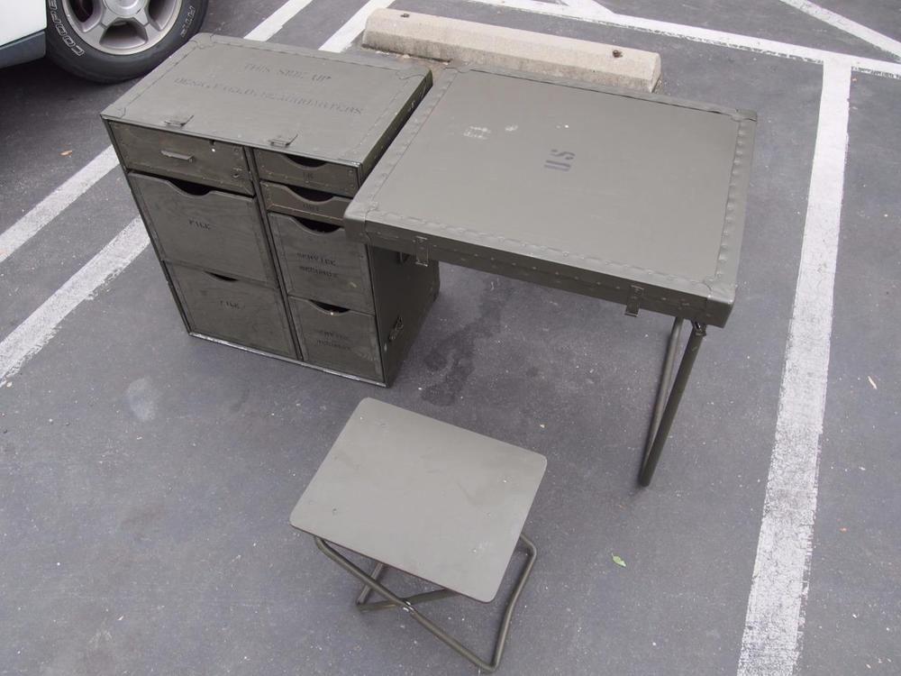 Us Military Green Headquarters Gi Wood Field Desk 2 Seats Surplus
