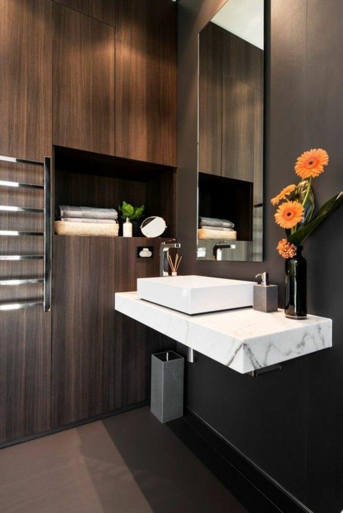 Badezimmer Deko Moderne Bader Badezimmer In Braun Mit Holz Gestalten  Orangen Blumen