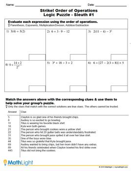 Order Of Operations Logic Puzzle Group Activity With Images
