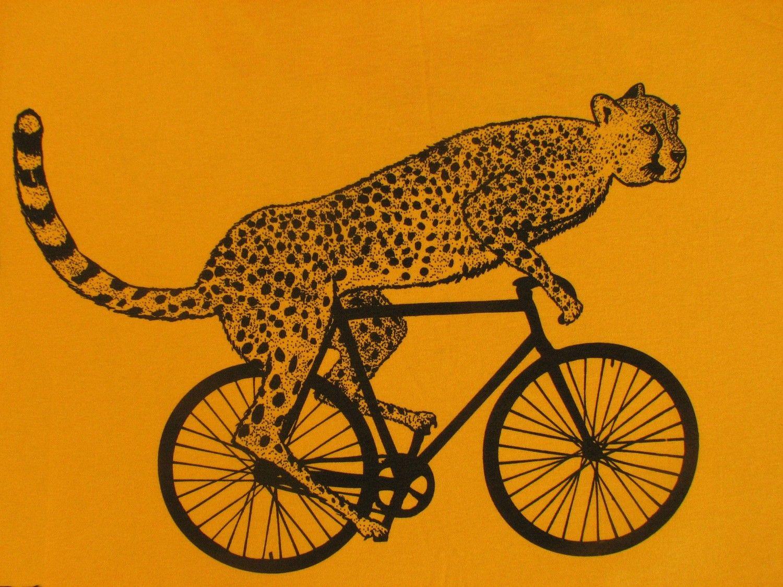 Mens Cheetah On A Bike T Shirt American Apparel Gold S M L
