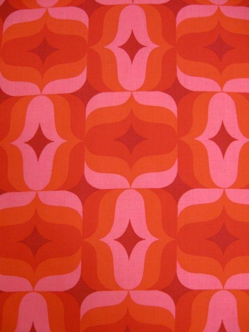 vintage fabric in shades of orange and pink 70er dekostoff archiv stoffe johnny tapete. Black Bedroom Furniture Sets. Home Design Ideas