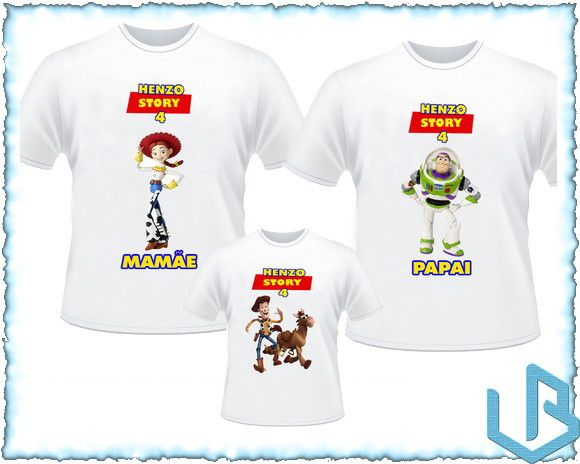 9f6664602cd3d Kit 3 Camisetas Personalizadas Toy Story