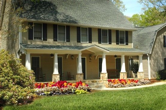 Full front porch remodel on saltbox style home designed for Saltbox house additions