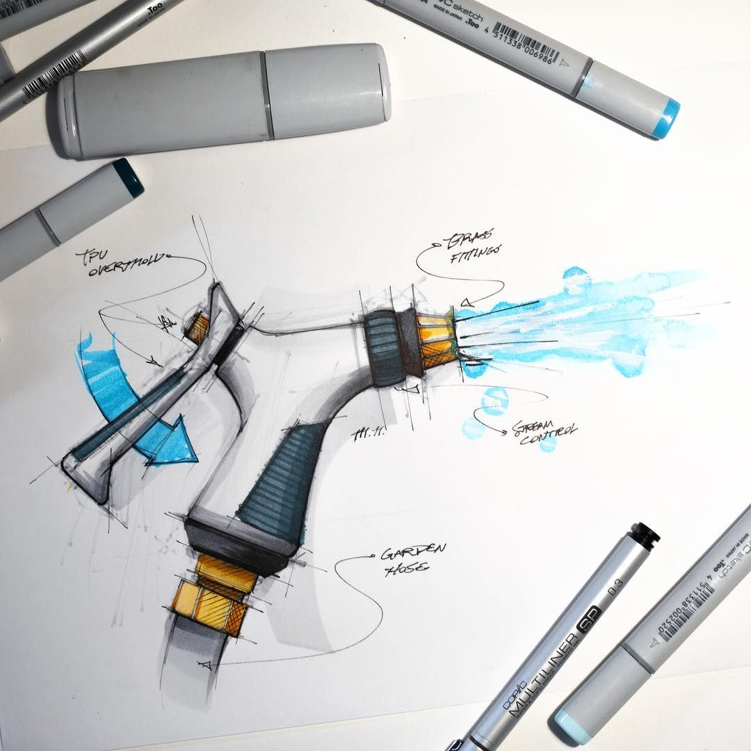 Industrial Design Sketch Of A Watering Hose Nozzle Drawn With Copic Markers And Prismacolor Pencils Industrial Design Sketch Design Challenges Hose Nozzle,Bathroom Designs For Long Narrow Spaces