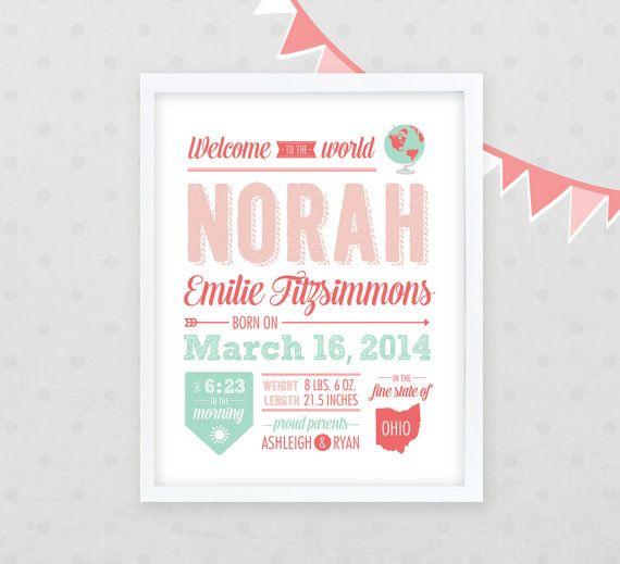 Girls Birth Announcement Poster 16x20 Nursery Art by Kindertype – Birth Announcement Poster