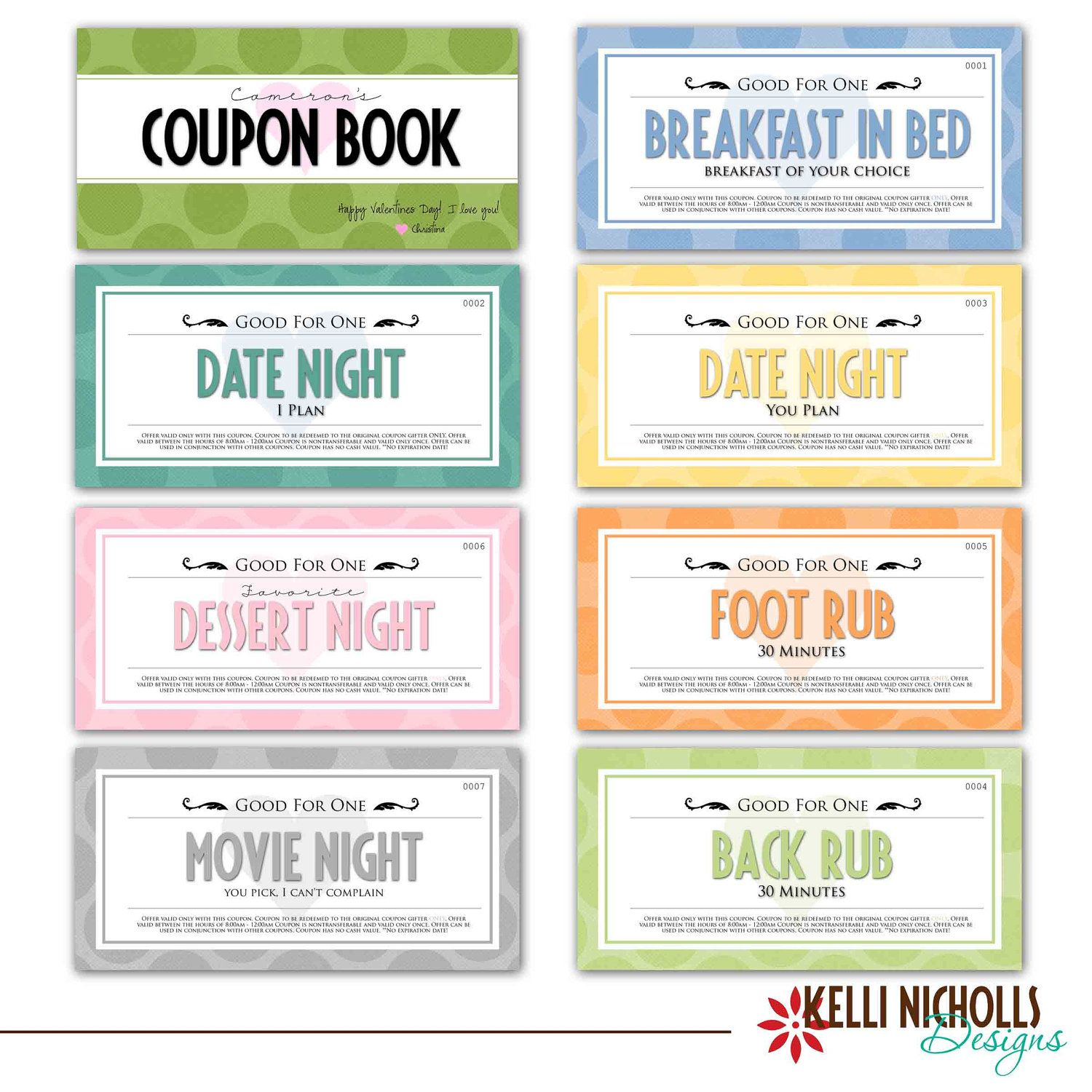 Custom Anniversary Gift Coupon Book, Wife Or Husband Gift