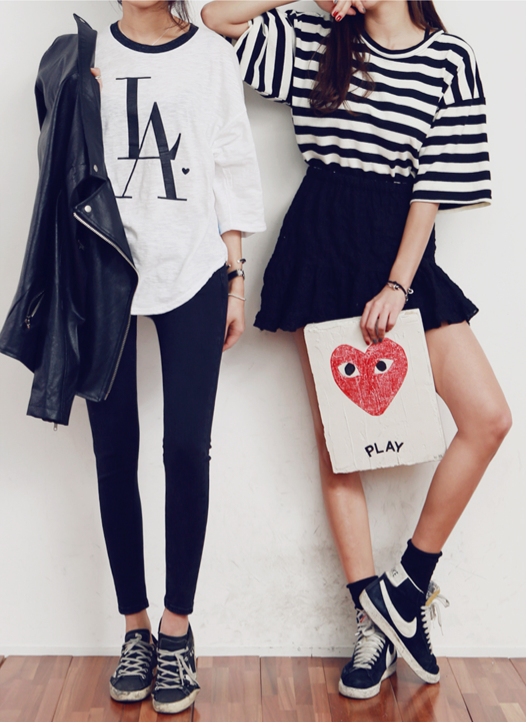 black skater skirt, striped black and white tee, nike sneakers