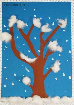 Winterdeko basteln Schneetreiben - Bastelnmitkids