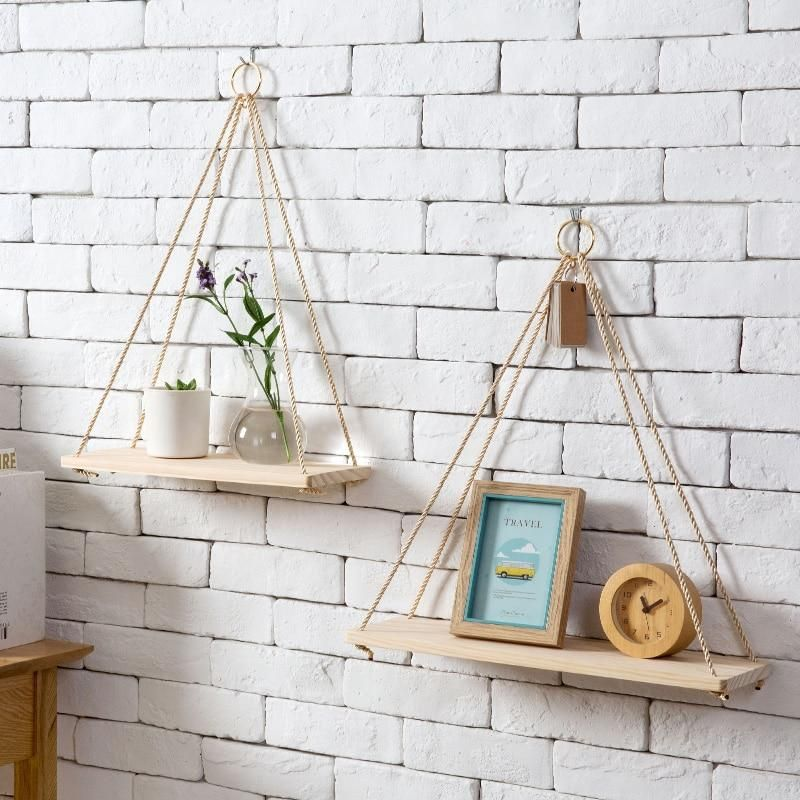 Home Wall Decoration Rope Rack Flowerpot Storage Rack Nordic Wall Hanging Board Hanging Ornamen Hanging Rope Shelves Wall Hanging Shelves Floating Wall Shelves
