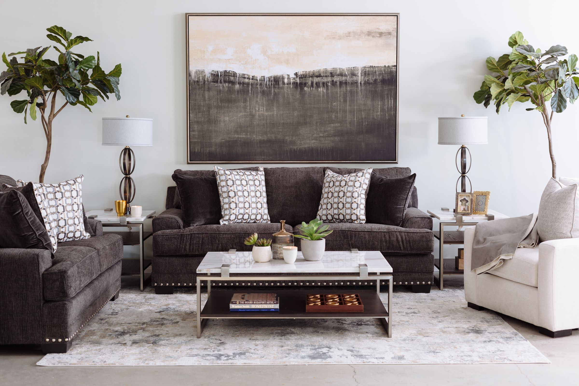 Nailhead Accented Contemporary Sofa In Charcoal Oil Painting Abstract Abstract Painting Large Abstract Painting