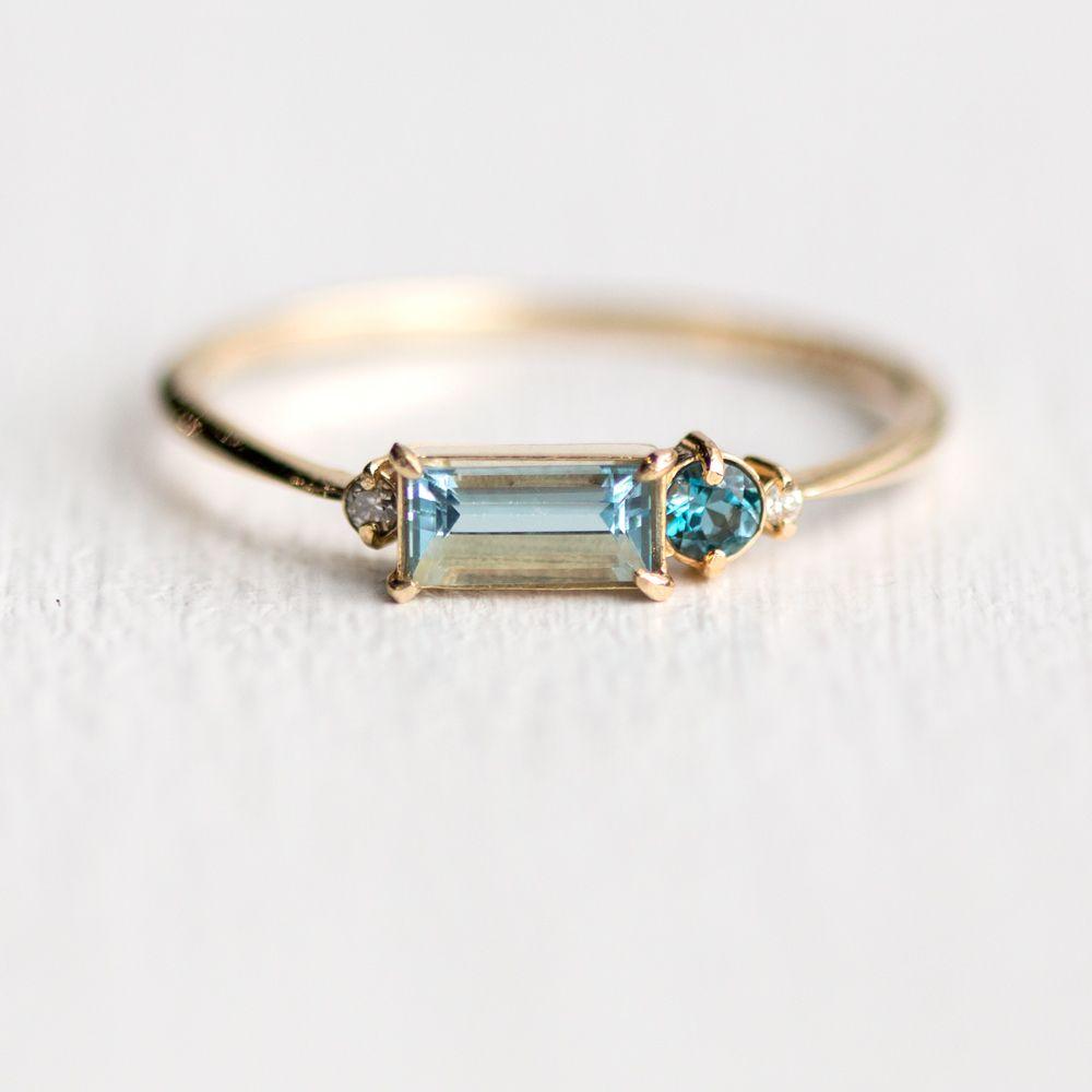 Aquamarine Balcony Ring In Solid 14k Gold Aquamarine Baguette