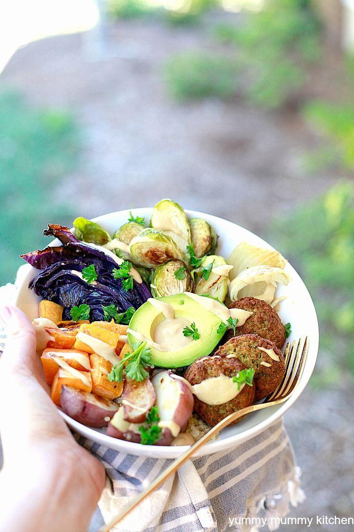 Sheet Pan Buddha Bowls With Tahini Sauce