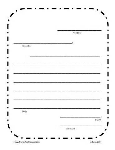 friendly letter template middle school