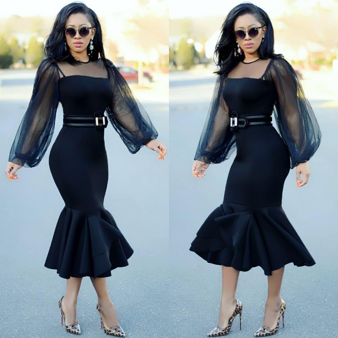 2019 Black Elegant Mesh Lantern Sleeve Dress Women Bodycon Dresses Ladies Midi Dress Women Bodycon Dress Funeral Outfit Black Dress Lace Sleeves [ 1080 x 1080 Pixel ]
