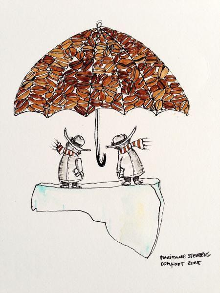 Comfort zone - Kunstner, Illustrator, Marianne Stenberg, Illustration, Humor, Naivisme, : www.artunika.dk / www.artunika.com Comfort zone - 31 x 34 cm. Original illustration af kunstner Marianne Stenberg. Illustrationen er indrammet i sort træramme....