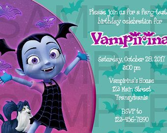 Vampirina Birthday Invitation, DIGITAL DOWNLOAD FILE, 5x7, 4x6