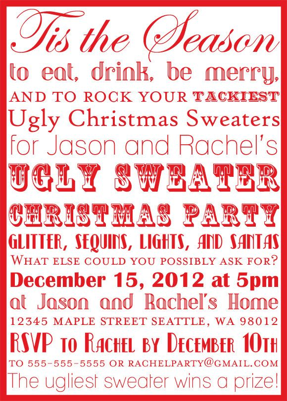 Printable Ugly Christmas Sweater Party Subway Art Invitation – Tacky Christmas Sweater Party Invitations