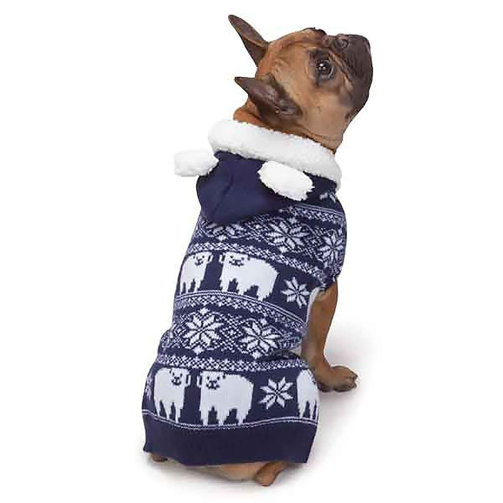 Zack And Zoey Elements Polar Bear Hooded Dog Sweater Winter Is