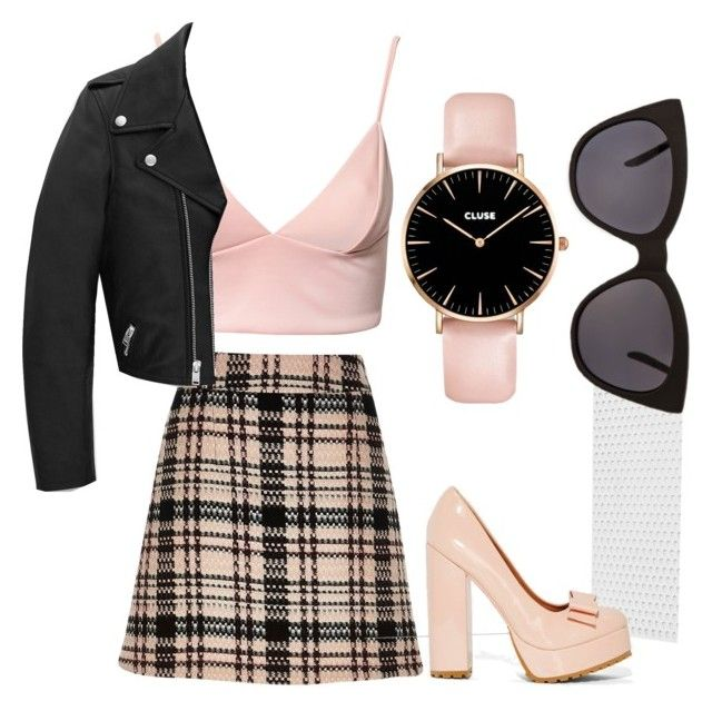 """Untitled #19"" by lindsey-ritchie ❤ liked on Polyvore featuring Dark Pink, River Island, Jeffrey Campbell, Yves Saint Laurent and Quay"