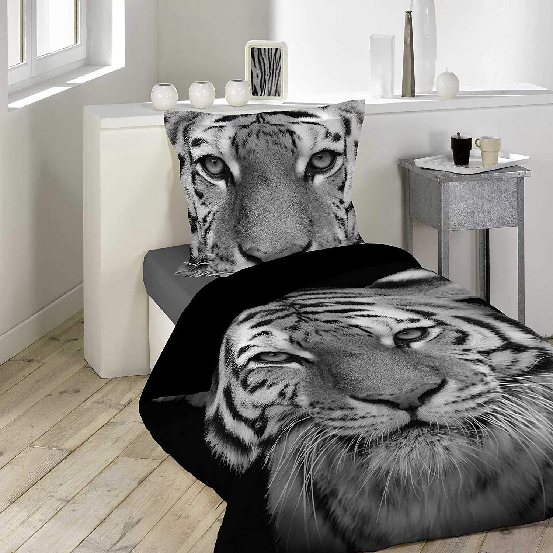 Housse De Couette Tigre Noir Tigery 140x200cm 1 Personne 100 Coton En 2020 Housse De Couette Parure Housse De Couette Et Parure De Lit