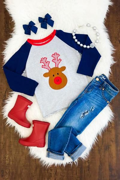 Gray Navy - Gender Neutral Rudolph T-Shirt Toddler Girl Outfits f3cc99c8c