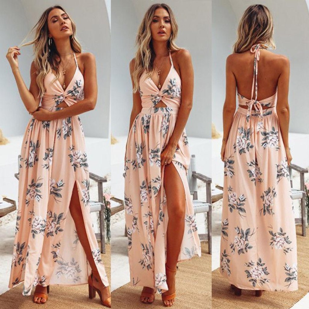 Floral Print Backless Boho Maxi Dress With Slits Summer Maxi Dress Boho Boho Maxi Dress Boho Dresses Long [ 1024 x 1024 Pixel ]