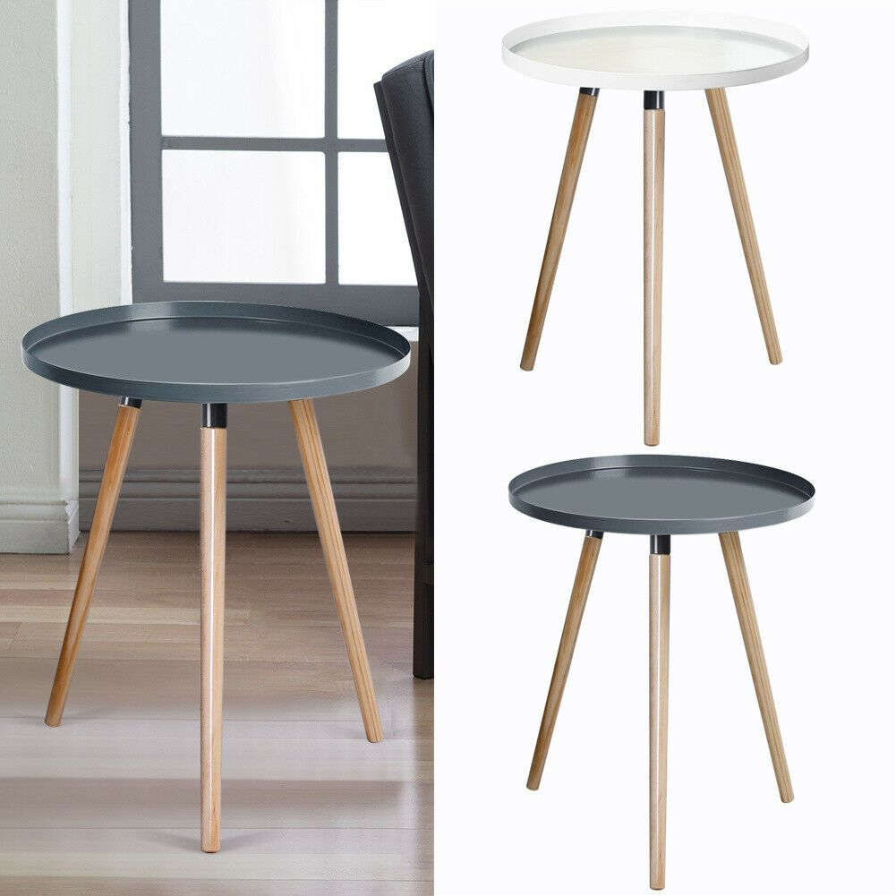Simple Tray Side End Table Small Round Coffee Table Display Stand Solid Wood Leg Ebay Display Coffee Table Round Coffee Table Coffee Table [ 1001 x 1001 Pixel ]