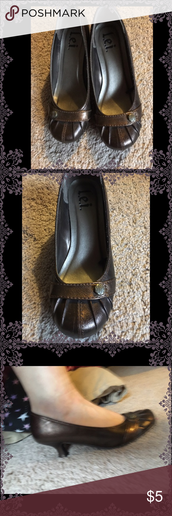 Dress shoes women's Great dress shoes fits to size very comfortable only issue is the bottom of one shoe is crooked if you can get it off it twist it and re glue it it be perfect I can't twist it. I find no issue walking on them some people might price is low to reflect it issue. The shoes were not like it before I think the glue got lose and stayed that way. lei Shoes Heels
