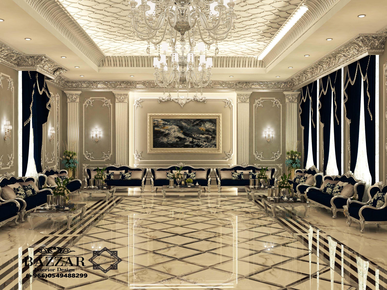 مجلس رجال نيوكلاسيك فخم باللون الفضي والكنب الاسود تم استخدام نجف كرستال ذو اضاءه عالي Home Building Design Luxury House Interior Design Luxury Ceiling Design