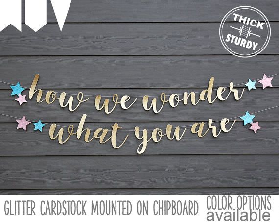We Are Little Stars: How We Wonder What You Are Banner With Stars Gender Reveal