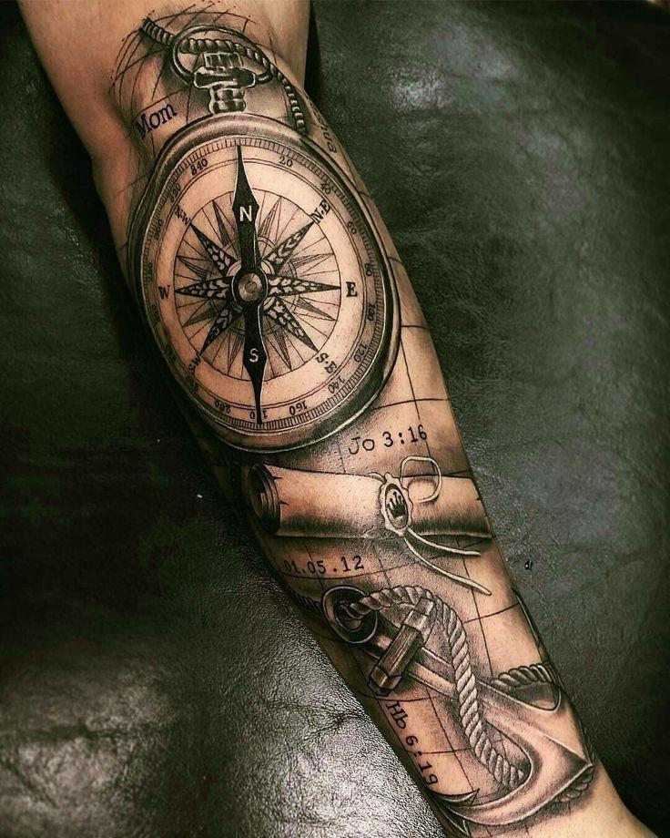 Kompass mann unterarm tattoo Totenkopf Kompass