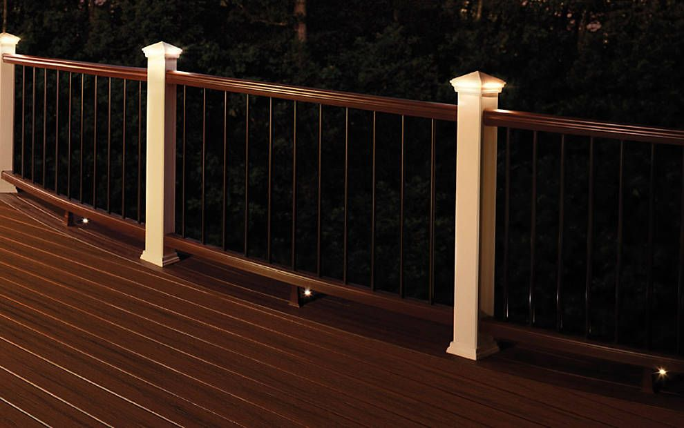 Transcend Railing In Classic White And Vintage Lantern Deck Railings Railing Design Lake Houses Exterior