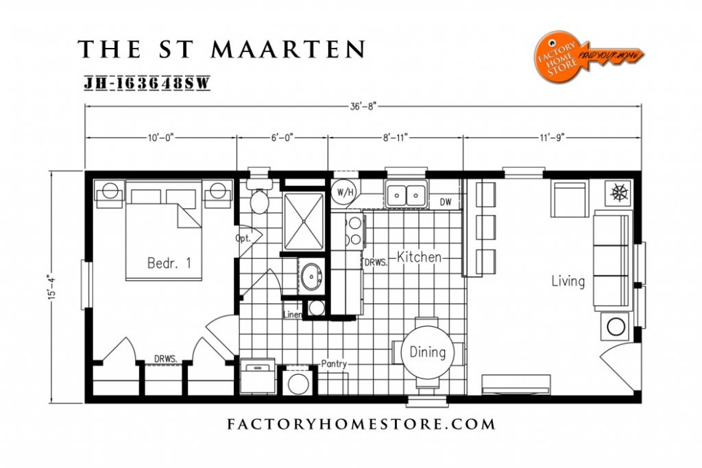 16x36 floor plan - Google Search | Tiny home | Little house plans