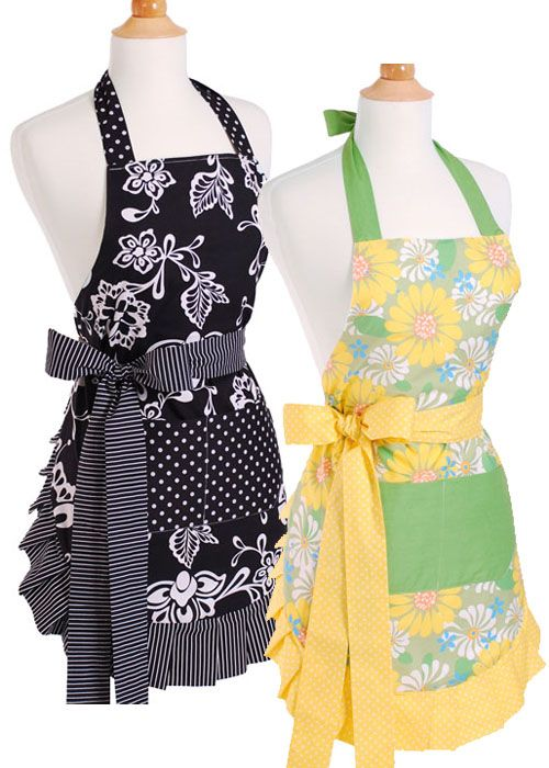Designer Kitchen Aprons apron inspiration - love the mix of colors and patterns | sewing