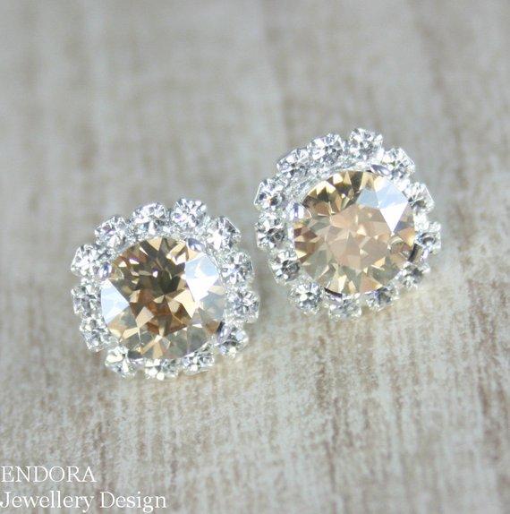 Champagne Earring Crystal Bridal Jewelry Wedding Earri