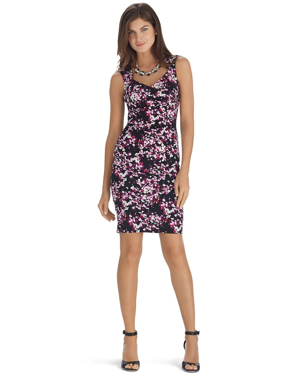 Sleeveless Printed Tier Instantly Slimming Dress