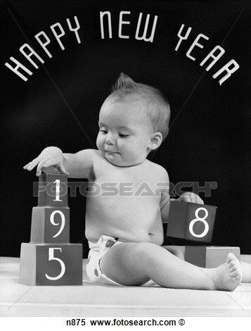 Happy New Year Baby 1958 Nieuwjaar Kerst Kaarten