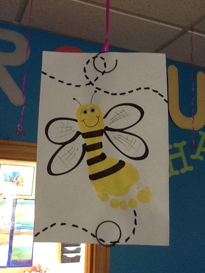 Bee Footprint Craft Infant Toddler Room Spring Crafts Toddler