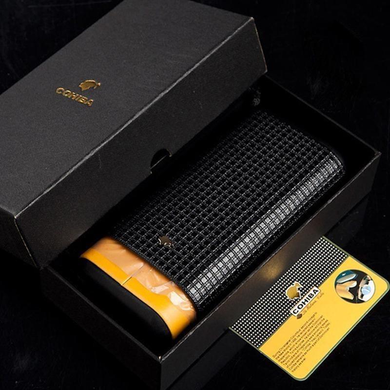 Cohiba Black Leather Adjustable Cedar Wood 3 Tube Cigar Case Humidor