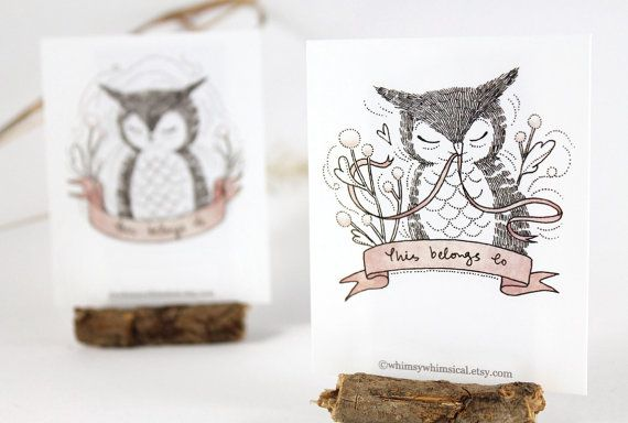 12+Bookplates++Owl+by+whimsywhimsical+on+Etsy,+$8.50