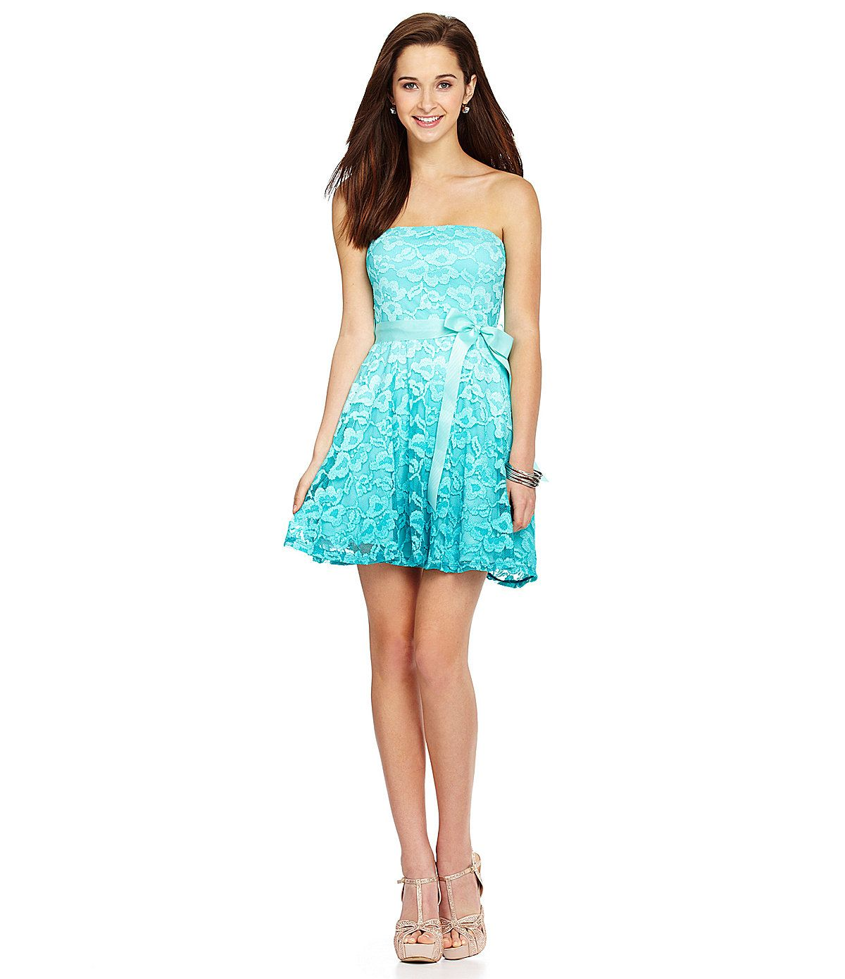 As U Wish Strapless Ombre Lace Dress | Dillards.com | Dresses of the ...