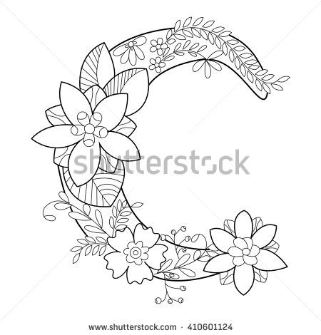 Floral Alphabet Letter Coloring Book For Adults Raster Illustration Anti Stress Adult Zentangle Style Font Black And White Lines
